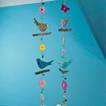 mobile oiseaux DIY