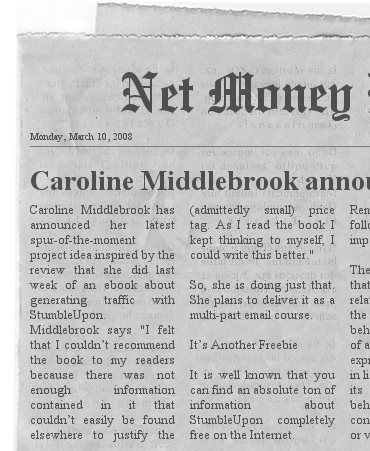 Caroline Middlebrook's Email List Contest Newspaper