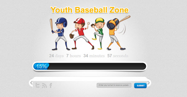 youth baseball zone coming soon landing page