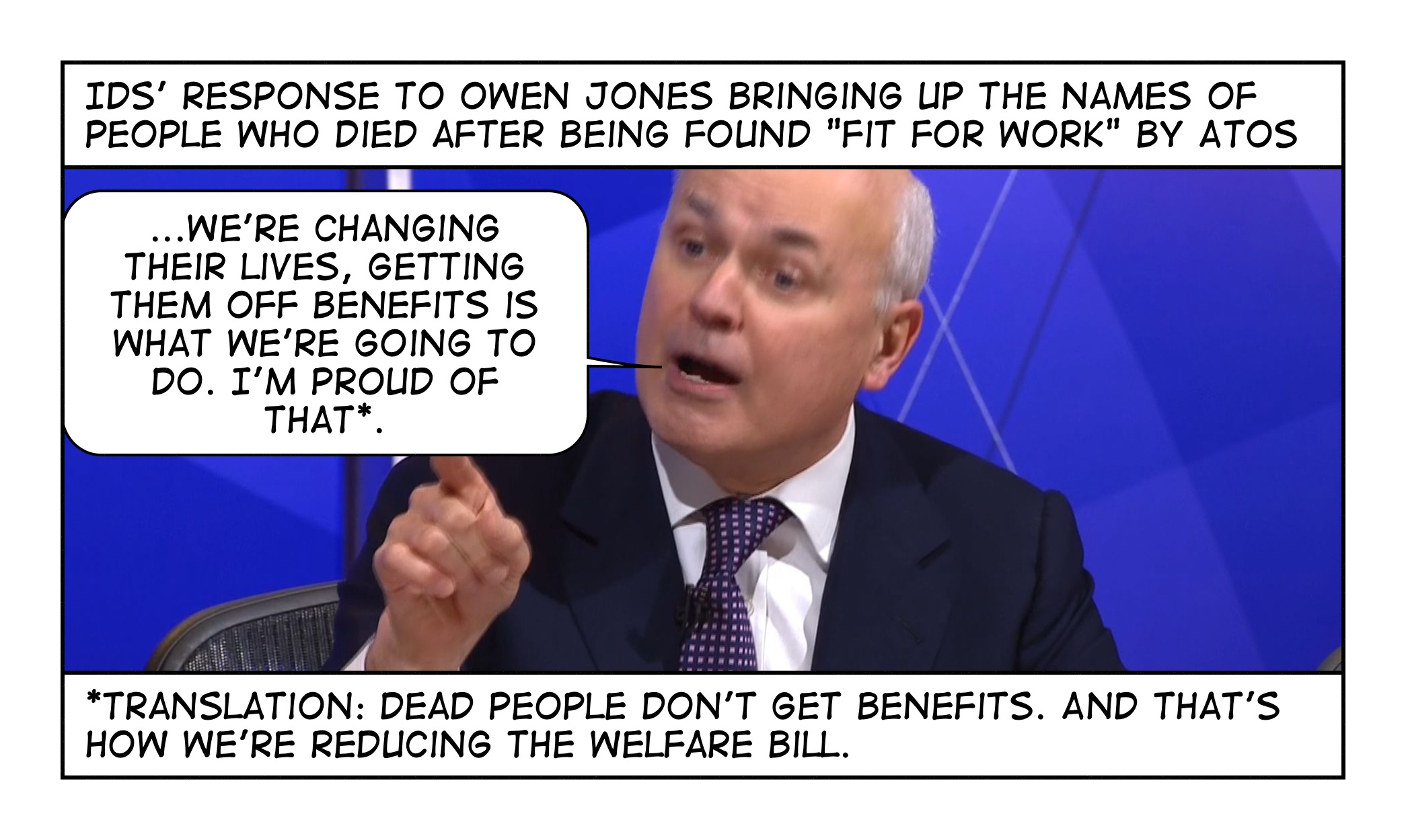 Image result for ian duncan smith cartoon we're getting people off benefits