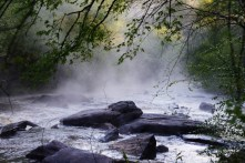 Spring is a good time for misty mornings on Georgia rivers—South Fork of the Broad River, Watson Mill State Park, Georgia.