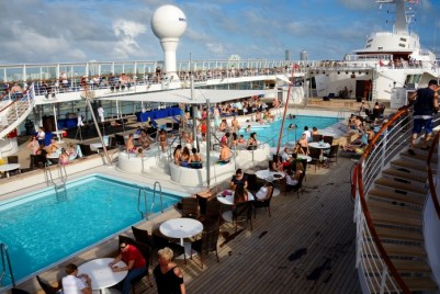 At the beginning of the cruise, guests ate and relaxed on deck.