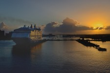 Sunrise in the harbor at Nassau.