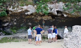 Lucayan cave entrance with cruise guests ready to enter.