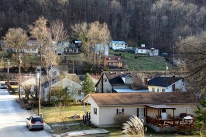 Homes on hillside in Harlan, KY