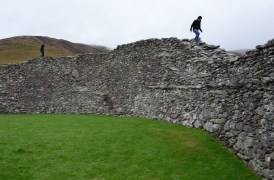 Visitors can reach the top of the fort by a series of layered stairs that form parts of the interior walls.