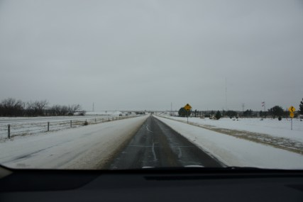 I-20 west of Abilene, TX after a snow. Only one lane available.