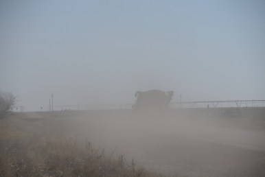 Most of the county roads in the High Plains are not paved. Between rains, local traffic generates much dust.
