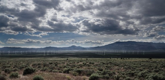 Wind farms are becoming more common, offering a new twist on western energy development. This is the only place we say such a rectangular layout of turbines.