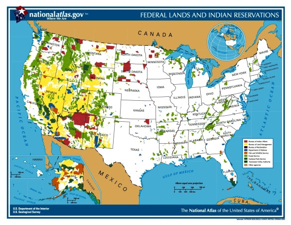 A dramatic comparison of federal land ownership in the West versus other regions.