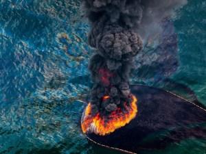 Incendie sur une plate-forme pétrolière dans le golfe du Mexique, Avril 2010