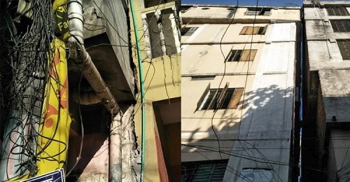 Leaning building in Savar