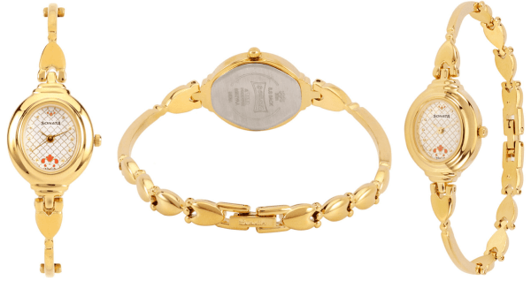 White Dial Brass Strap Watch for Women