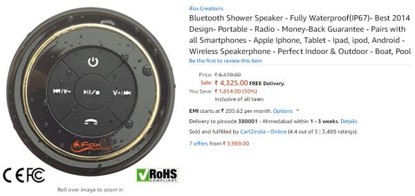 iFox Creations Bluetooth Shower Speaker