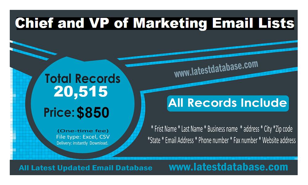 Sjef og administrerende direktør for e-postlister for markedsføring