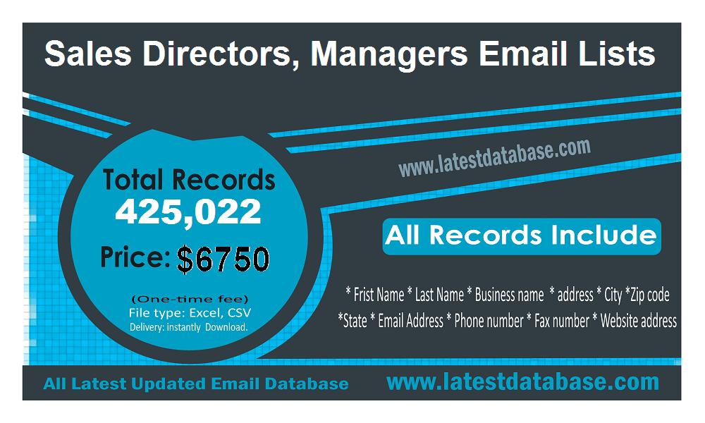 बिक्री निदेशक प्रबंधक ईमेल सूची