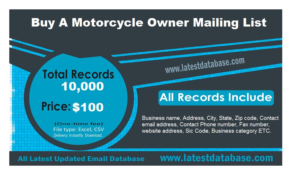 Compre una lista de correo de propietarios de motocicletas