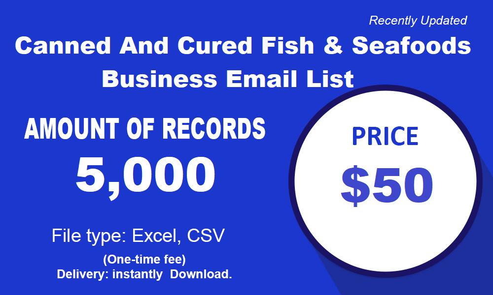 Листа е-поште пословних конзервираних и сухомеснатих производа и риба и морских плодова