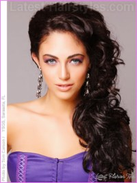 Curly hairstyles pinned to the side