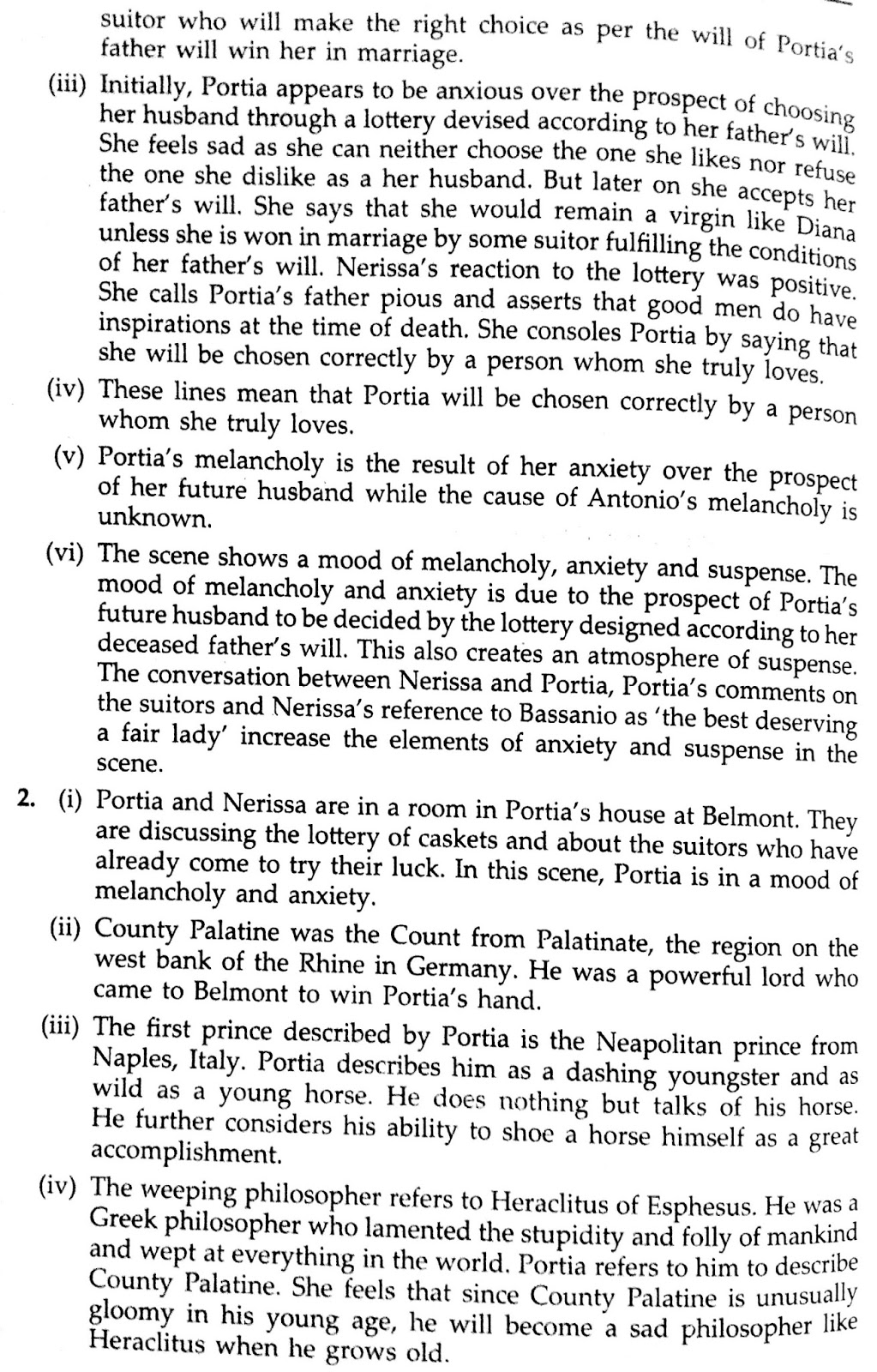 Workbook Answers/ Solutions in The Merchant of Venice, Act