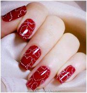 bridal nail art acrylic design