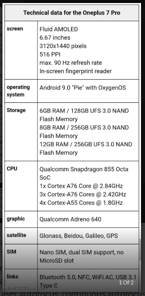 OnePlus 7 Pro Full specifications  OnePlus 7  Android smartphone