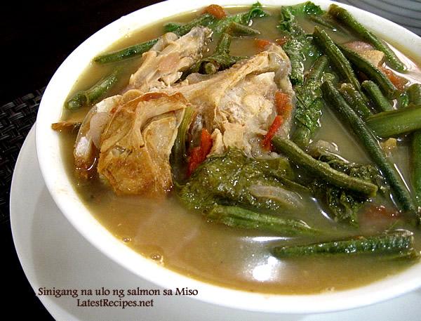 Sinigang na Ulo ng Salmon sa Miso ( Salmon Head in Miso Tamarind Broth)