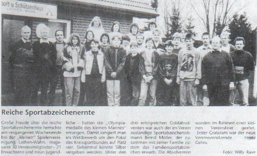 Reiche Sportabzeichenernte 1993 in Lathen-Wahn