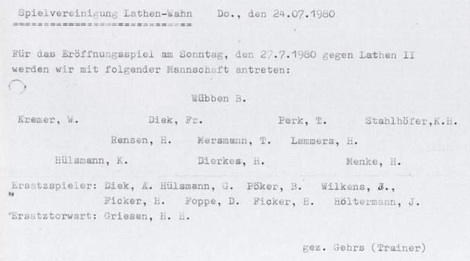 Die erste Mannschaftsaufstellung der SpVgg Lathen-Wahn e.V.