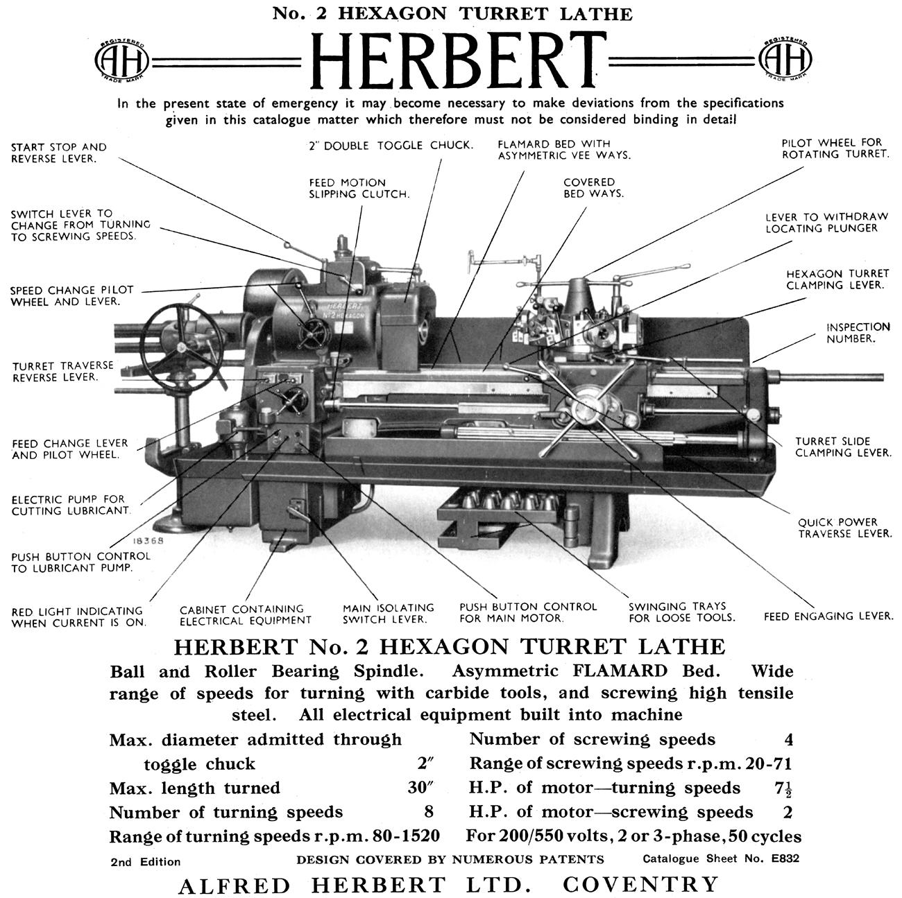 Herbert 2 Hexagon Capstan Lathe