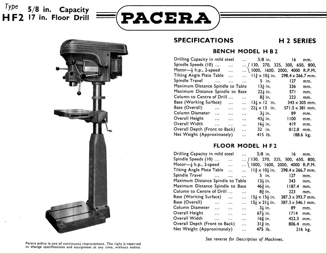Pacera Drills 1940s-1950s