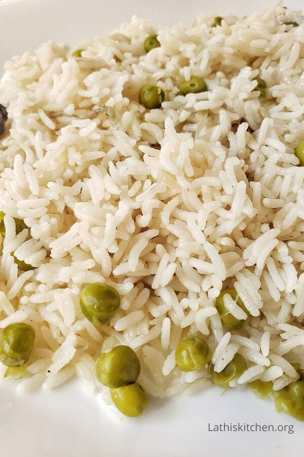 Close up of vegetable pulao.