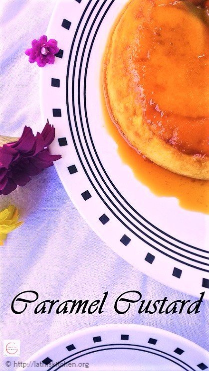 Caramel Custard in a plate with flowers.