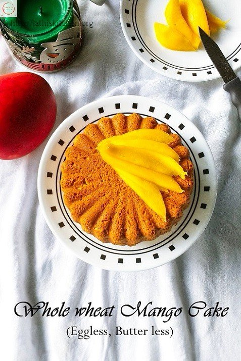 Whole wheat MAngo Cake,Cake,Baking,Eggless,Butterless,Kids,