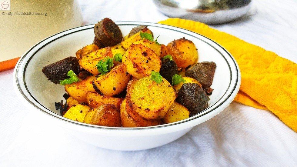 Baby Potato Roast,Baby potatoe,Indian,Roasting,Side dish,Lunch,vegetarian