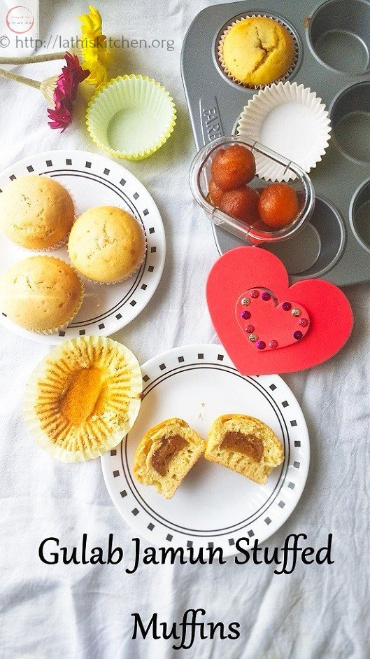 Gulab Jamun Cupcakes/Muffins,Cupcakes,Muffins,Baking,Valentine's day,Kids,stuffed cupcakes
