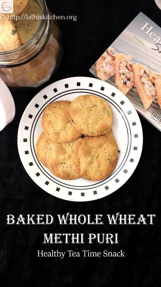 Baked Whole Wheat Methi Puri,Indian,Snack,Tea time snack,Baking,Easy,Methi Puri