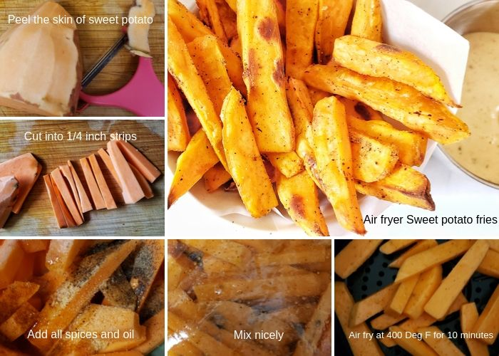 Step wise pictures to make sweet potato fries.