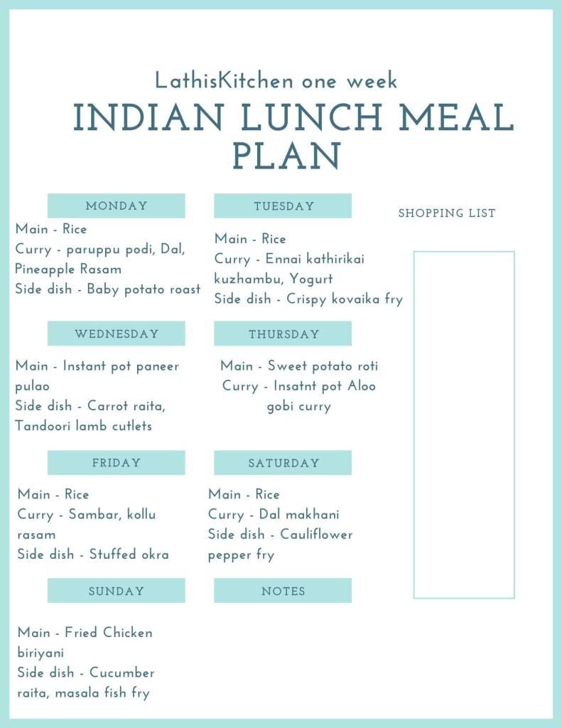 Indian Lunch menu chart.