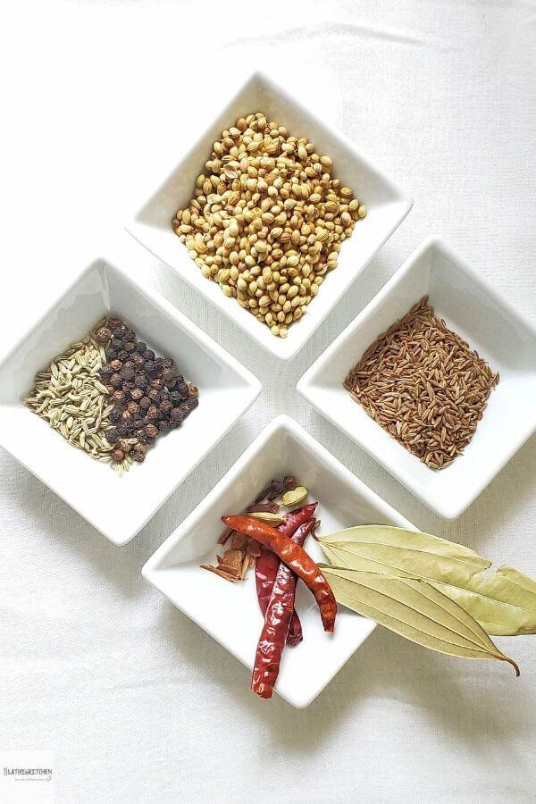 Ingredients to make Kadai Masala.