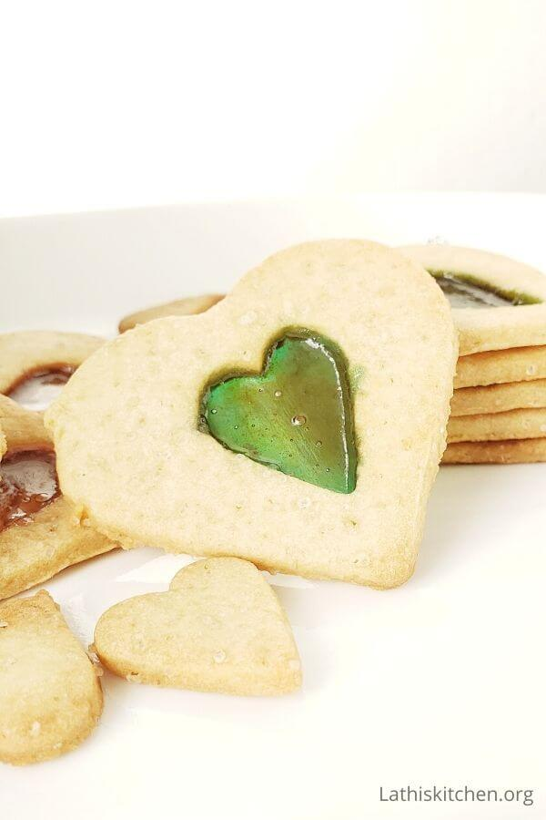 Heart shaped stained glass cookies.