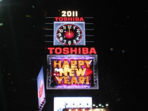 NYE Ball drop in Times Square view