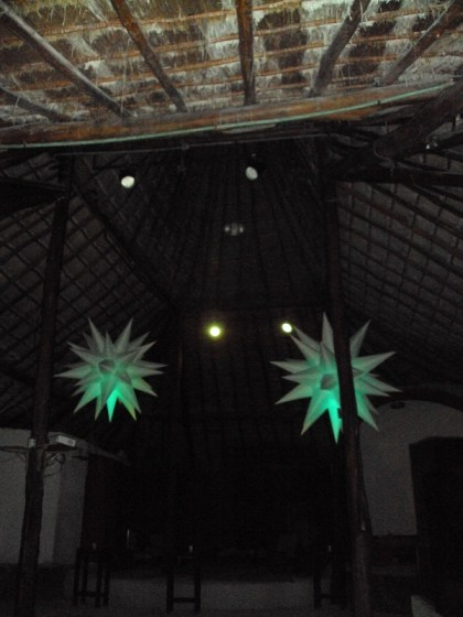 Playa Del Carmen nightlife, Coco Maya Beach Club thatched ceiling
