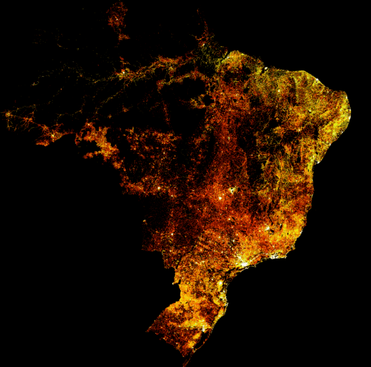 high resolution Population Brazil Maps created by Facebook