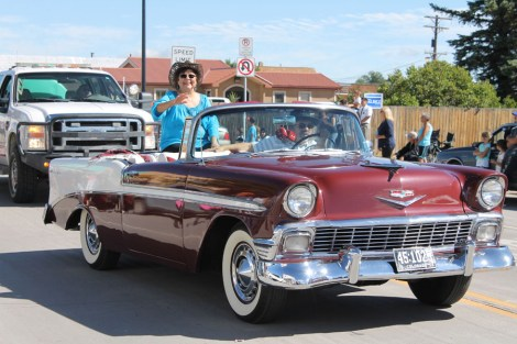 1956 Convertible Chevy, donated by volunteer Phil Salazar to escort the First Latina State Senator, Polly Baca. (CO Womens Hall of Fame and National Hispanic Hall of Fame) Polly's great-great uncle Juan Antonio Baca was elected to represent the people of Conejos County in 1878; 2yrs after the State had become part of the union of The United States of America was a parade hit and surprise of the parade.