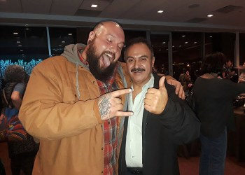 Rubin Marin (Left) with an after party fan.