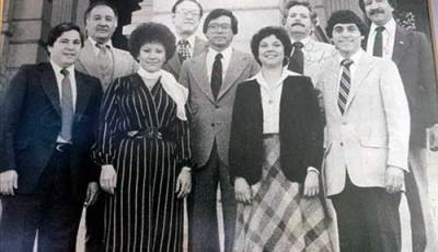 Richard Castro lower left with wife Virginia and several other prominent Latino politicians of the time.