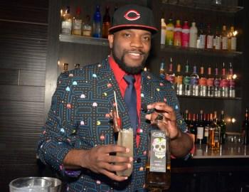 "Denver Crowd Favorite Winner_Benjamin Carrington with his Exotico cocktail, ""Dimly lit Agave"