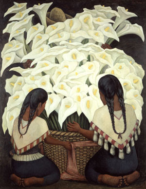 Diego Rivera, Calla Lilly Vendor, 1943. Oil on Masonite; 59.1 x 47.2 in. (150 x 120 cm). The Vergel Foundation. ©2019 Banco de México Diego Rivera Frida Kahlo Museums Trust, Mexico, D.F./Artists Rights Society (ARS), New York. Photo by Gerardo Suter.