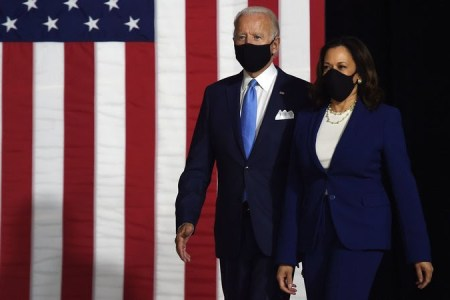Democratic presidential nominee and former US Vice President Joe Biden (L) and vice presidential running mate, US Senator Kamala Harris, arrive to conduct their first press conference together in Wilmington, Delaware, on August 12, 2020. (Photo by Olivier DOULIERY / AFP) (Photo by OLIVIER DOULIERY/AFP via Getty Images)